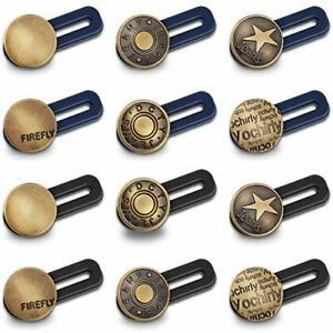 12 Pieces Button Waist Extender Stretch Waistband Extender Elastic Metal Button