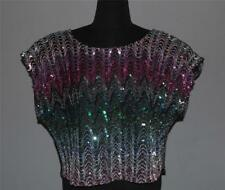 VTG LADY CARIBOU Colorful Sequins Silver Metallic Thread Cap Sleeves Top Wms 46