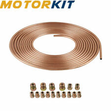 Steel Copper Nickel 25Ft Brake Line Tube Kit 1/4 OD Coil Roll&Fittings Universal