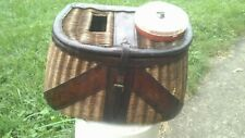 Vintage Antique Fishing Creel Basket Fisherman Trout & Fly, a top nice lure box