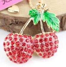 Fashion Betsey Johnson Pendants Rhinestone Strawberry Gold Hot Women Necklaces