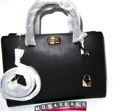 Michael Kors Large Sylvie Black Leather Satchel Bag Convertible  Strap NWT $328