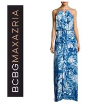 NWT BCBG MAX AZRIA $298 BLUE FLORAL JANISA RUFFLE KEYHOLE BACK MAXI DRESS SZ M