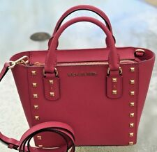 Michael Kors Sandrine Pyramid Stud Mini Tote Crossbody Bag Lipstick Ultra Pink