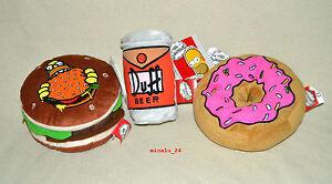 Simpsons Plüsch Kult Zubehör - Donut / Krusty Burger & Duff Bier ca. 18cm NEU