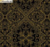 Rejoice -Metallic Filagree Black/Gold - 100% Cotton Christmas Quilting Fabric