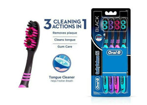 2x Oral-B CAVITY DEFENCE 123 BLACK TOOTHBRUSH (SOFT) (4 PC PACK) | deep clean