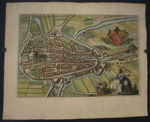 ZIERIKZEE NETHERLANDS 1696 ANONYMOUS UNUSUAL ANTIQUE COPPER ENGRAVED CITY VIEW