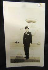 Vintage Photograph Man Bowler Hat Fountain Suit Turtles Travel English B&W Tie