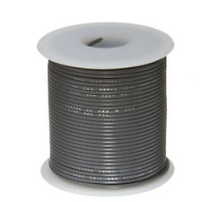 """28 AWG Gauge Stranded Hook Up Wire Gray 100 ft 0.0126"""" PTFE 600 Volts"""
