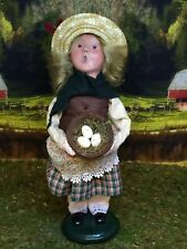 Byers Choice Caroler Colonial Girl With Nest Of Eggs, 2009, Retired