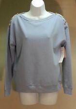 NWT $59 CHARTER CLUB Women's Blue Solid Long Sleeve Shirt Top Blouse Sz: PM