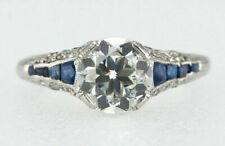 Sapphire Engagement Wedding Ring 925 Jsc Vintage Art Deco 2.25ct Round & Blue