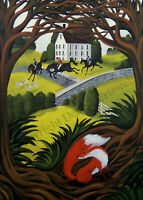 Giclee ACEO folk art laughing Fox Hunt primitive horse hound dogs cute whimsical