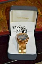 Black Hills Gold Band Day & Date W/ Black Face Men's Watch With box