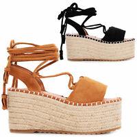 Scarpe donna sandali schiava corda camoscio flatform lacci TOOCOOL GI-2562