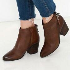 Steve Madden 9  M Jaydun Ankle Boots Booties Cognac Brown Leather Block heel
