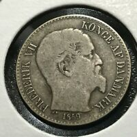 1859 DANISH WEST INDIES SILVER 10 CENTS SCARCE COIN