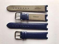 VINTAGE Tissot Blu Imbottita in Pelle Estremità SPECIALE 19 mm x 10 mm slot fibbia in acciaio