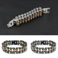 Heavy Black 316L Stainless Steel Motorcycle Bike Chain Link Men's Bracelet 15mm