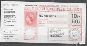 GB POSTAL ORDER 1970 EDINBURGH 10/- 50p