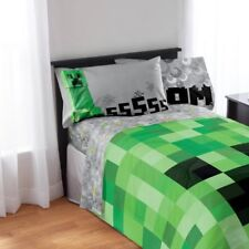 Minecraft Sheet Set 4 Pc Full Kids Children Bed Flat Fitted Sheets Pillowcases