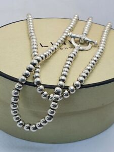 Links of London ORBIT Small Ball Bead Long Necklace chain silver vintage
