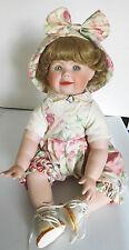 """1994 Hamilton 16"""" Chelsea Blonde Toddler Porcelain Girl Sitting Doll by C. Derek"""