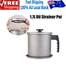 2L Stainless Steel Oil Strainer Pot Grease Container Storage Can With filter