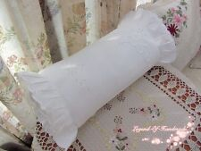 Lovely~Victorian White Taped Cutwork Candy Pillow Cover Neck Roll Pillow Case~