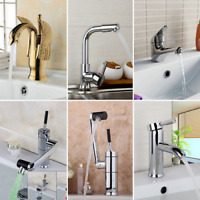 Bathroom Kitchen Swivel Sink Faucet Single Handle Chrome Brass  Mixer Taps