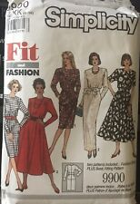Simplicity fit & fashion pattern 9900 Misses Basic Fitting Dress & Dress sz 8-12