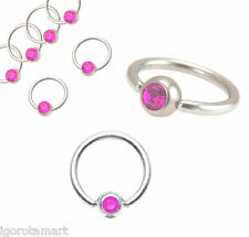 New Pink Gem Ring / Hoop / Lip / Nose / Belly Bar / Nipple Ring 14G 16G UK Post