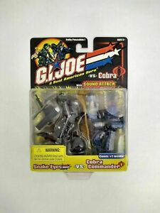 GI Joe Snake Eyes vs Cobra Commander Figure Pack Set w/ Sound Attack