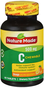Nature Made Chewable Vitamin C 500 mg Tablets 60 Ct Supports the Immune System