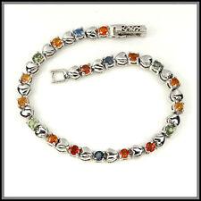 """Sapphire Sterling Silver 7.5 - 7.99"""" Fine Gemstone Bracelets"""