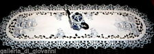"""TEATIME 70"""" Lace Doily Table Runner Dresser Scarf White Blue Tea Embroidered"""