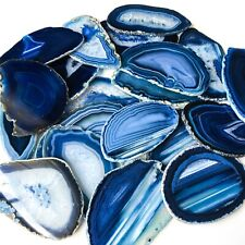 "Blue Agate Slices: 2.5-3.75"" Long, Bulk Placecards Place Cards Geode Wholesale"