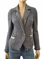 RINASCIMENTO Embellished Frayed Blue Boucle Tweed Blazer Jacket S