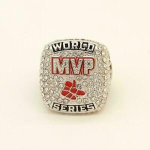 World Series Ring With Boston Red & White Stone In Solid 935 Argentium Silver
