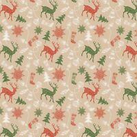 Christmas Fabric - Rustic Deer Tree Snowflake Brown - Patrick Lose YARD