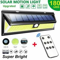 180 LED Solar Power Motion Sensor Wall Light Outdoor Garden Lamp+Remote Controll