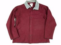Vtg Steel Grip Inc Men's Wool Maroon Distressed Work Unlined Jacket Size L
