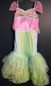 N Disney Store ARIEL Mermaid Glitter Costume Dress XS 4