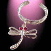 Helix Ohrring 1 Stück Ohrklemme Libelle mit pinkem Kristall  925 Silber
