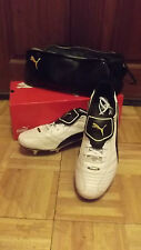 Puma King Finale SG rugby boots white/black gold trim size 13