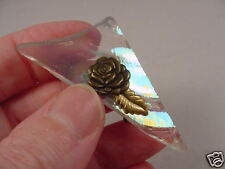 (bb-554) Iridescent stained glass Triangle rose brooch pin Wow