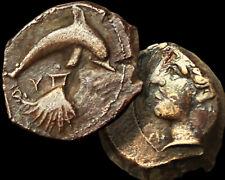 DOLPHIN - SHELL- ARETHUSA / Syracuse SICILY 400BC Æ Himilitron Coin +COA GGcoins