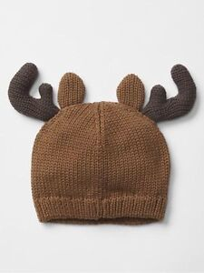 GAP Baby Boys Size 6-12 Months NWT Brown Reindeer Christmas Sweater Beanie Hat