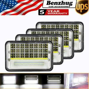"4Pcs 4x6"" 150W LED Headlight Hi/Lo Beam DRL For Freightliner FLD 120 Kenworth"